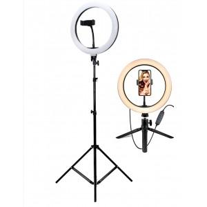 Кольцевая светодиодная лампа 26см с держателем телефона + 2 штатива