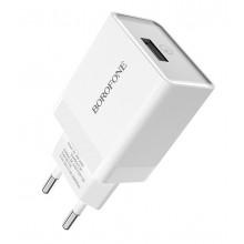 Сетевое зарядное устройство Borofone 1USB с функцией QC3.0  BA17A white