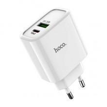 Сетевое зарядное устройство Hoco 1USB+TypeC  с функцией QC3.0  C57A  white