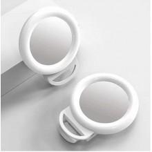 Кольцевая селфи лампа с зеркалом на прищепке 11.5 см белая