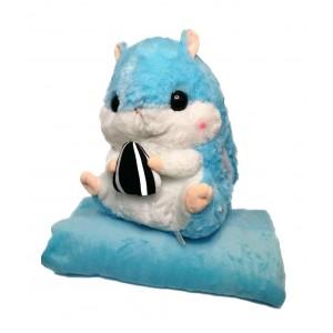 Хомяк 3 в 1 игрушка+подушка+плед  Голубой