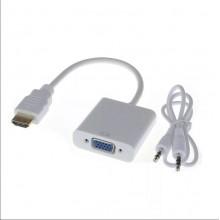 Переходник HDMI-VGA + Audio кабель 3,5 мм Jack Белый