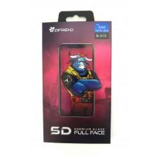 Защитное стекло 5D для Sumsung A8 plus с черной рамкой Zifriend