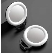 Кольцевая селфи лампа с зеркалом на прищепке 11.5 см черная