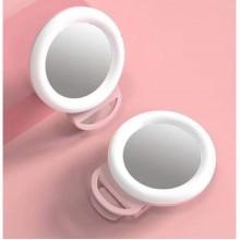 Кольцевая селфи лампа с зеркалом на прищепке 11.5 см розовая