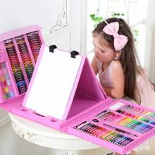 """Чемоданчик """" Набор Юного художника"""" для рисования с мольбертом 176 предметов Розовый"""