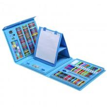 """Чемоданчик  """" Набор Юного художника"""" для рисования с мольбертом  208 предметов  Синий"""