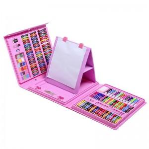 """Чемоданчик """" Набор Юного художника"""" для рисования с мольбертом 208 предметов  Розовый"""