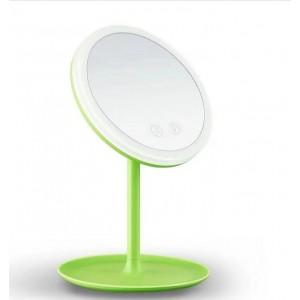 Косметическое зеркало с двухсторонней подсветкой зеленое