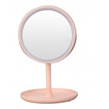 Косметическое зеркало с двухсторонней  подсветкой   розовое