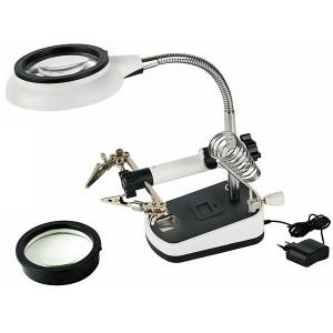 Лупа настольная с LED подсветкой Magnifier 2.5x/5x200/100мм ( третья рука ) MG16075C-8L