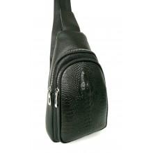 Однолямочный рюкзак ( теснение крокодил)  6058  черный