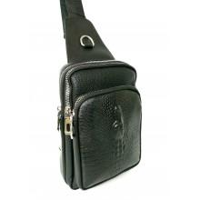 Однолямочный рюкзак ( теснение крокодил) 6024 черный