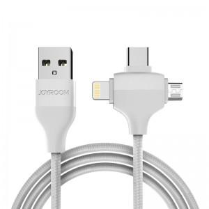 Кабель USB универсальный 3 в 1 microUSB - Type-C - Lightning  JoyRoom 1.2m  белый