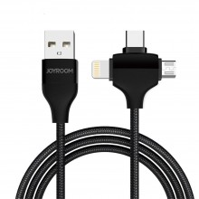 Кабель USB универсальный 3 в 1 microUSB - Type-C - Lightning   JoyRoom 1.2m черный