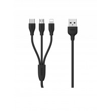 Кабель USB универсальный 3 в 1 microUSB - Type-C - Lightning  Remax 1m черный