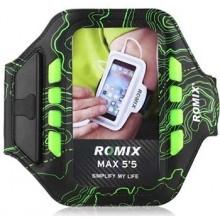 Чехол для телефона на руку для бега с LED подсветкой Romix RH19-1  черный с зеленым
