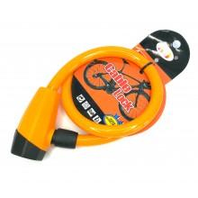Трос велосипедный с замком 1,2*65 см оранжевый
