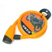 Трос велосипедный с замком 1,2*75 см  оранжевый