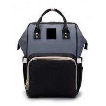 Сумка-рюкзак для мамы  B-0193-2 черно-серый.
