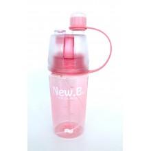 Спортивная бутылка для воды с распылителем NEW.B 400мл   0777-1 розовый