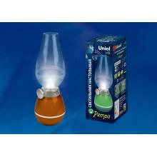 Настольный аккумуляторный LED светильник Ретро лампа Uniel  коричневый