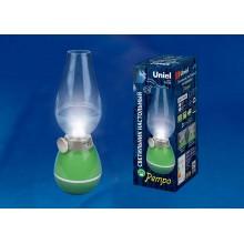 Настольный аккумуляторный LED светильник Ретро лампа Uniel зеленый