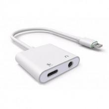Адаптер для Apple 2 в 1 Lightning  аудио Jack 3.5 мм Белый