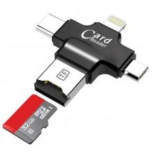 Универсальный карт-ридер Card Reader iDragon 4 в 1 (lightning, type-c, micro USB) Черный