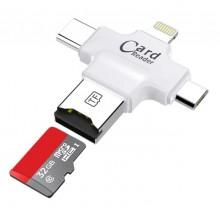 Универсальный карт-ридер Card Reader iDragon 4 в 1 (lightning, type-c, micro USB) Белый