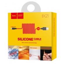 Силиконовый USB кабель HOCO X21 для iPhone 1м Красный