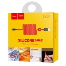 Силиконовый USB кабель microUSB HOCO X21 1м Красный
