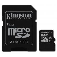Карта памяти Kingston microSDHC Сlass 10 16GB (с адаптером SD)