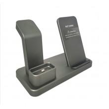 Док-станция 3 в 1 с беспроводной зарядкой для Iphone ABK-Q12 grey