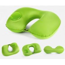 Подушка дорожная надувная с насосом 35х24см Зеленая