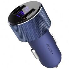 Автомобильное зарядное устройство Rock 2хUSB 2.4A с дисплеем RCC0127 Синий