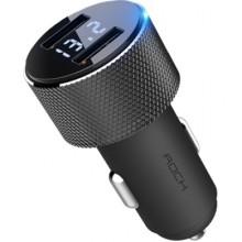 Автомобильное зарядное устройство Rock 2хUSB 2.4A с дисплеем RCC0127 Черный