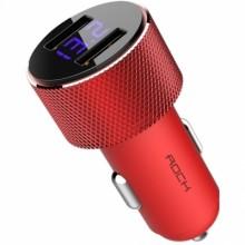 Автомобильное зарядное устройство Rock 2хUSB 2.4A с дисплеем RCC0127 Красный