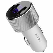 Автомобильное зарядное устройство Rock 2хUSB 2.4A с дисплеем RCC0127 Белый