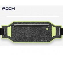 Сумка на пояс для бега Rock Slim Sports Waist Bag 2 RST1030 Серая с зелеными вставками