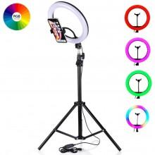 Кольцевая цветная  RGB светодиодная лампа 26см с держателем для телефона + штатив 200см