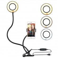 Держатель для телефона на прищепке и кольцевая лампа на гибком штативе