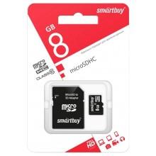 Карта памяти Smartbuy microSDHC Сlass 10 8GB (с адаптером SD)