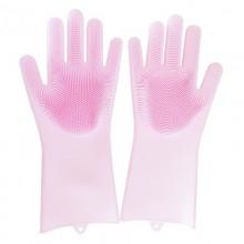 Многофункциональные силиконовые перчатки розовые