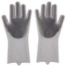 Многофункциональные силиконовые перчатки серые