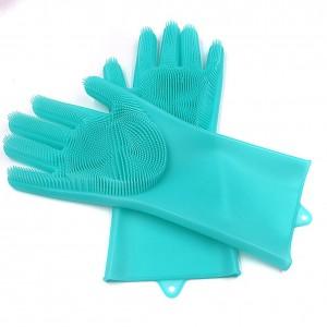 Многофункциональные силиконовые перчатки бирюзовые