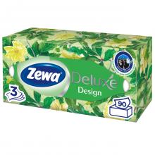 Салфетки бумажные Zewa Deluxe 3-х слойные в картонном боксе (90шт)